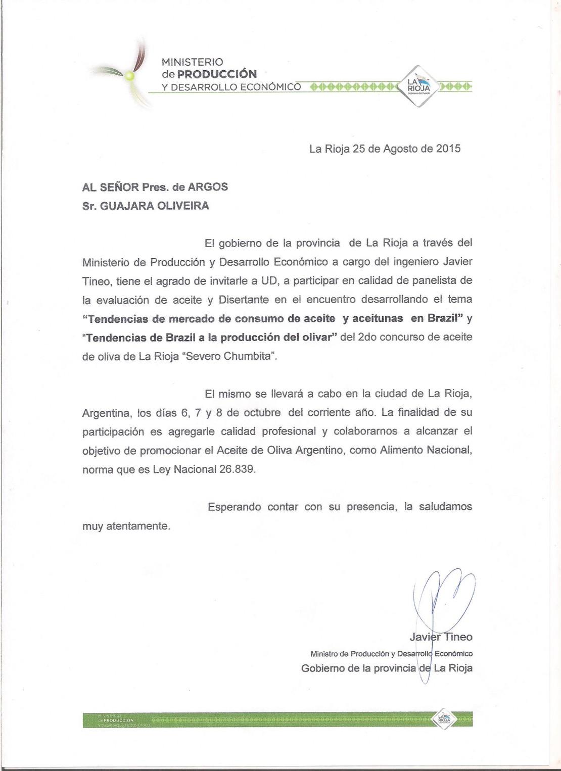 Presidente da ARGOS  vai participar como palestrante e juiz  em Evento Olívicola em La Rioja-Argentina